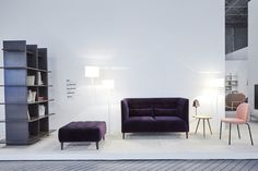 MCD sofa and stool. Design: Marie Christine Dorner. This was launched last year and already available, here shown in sumptuous velvet and wool subtle texture contrasts. Alliteration shelving, also by MCD, here shown as two together as a room divider, will come in store later in 2016