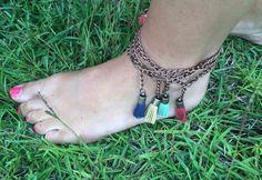 Boho Tassel Anklet by PaintTheTownMe on Etsy