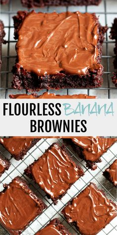 Melt-in-your-mouth Flourless Banana Brownies that are irresistibly fudgy! They're vegan, gluten-free, grain-free, dairy-free, and refined-sugar-free. Banana Brownies, Chocolate Brownies, Healthy Brownies, Sin Gluten, Gluten Free, Baking Recipes, Dessert Recipes, Bon Dessert, Dairy Free Chocolate
