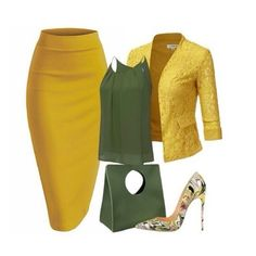 Moss green and mustard yellow skirt outfit Business Outfits, Business Attire, Classy Outfits, Stylish Outfits, Jw Mode, Elegantes Outfit, Work Fashion, Church Fashion, 80s Fashion