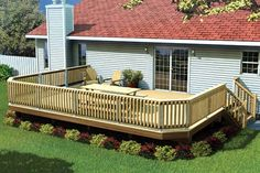 This deck can be built at any height and in a variety of sizes. Decorative front corners are angled at 45 degrees to add interest. Included: Complete drawings for 8 different size decks. A PDF version is also available, Landscaping Around House, Deck Landscaping, Landscaping Supplies, Landscaping Software, Mobile Home Landscaping, Mobile Home Deck, Cool Deck, Diy Deck, Patio Deck Designs