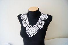 FREE SHIPPING Lux Special White Lace Applique Collar, Bridesmaid Accessories, Woman Applique , OOAK, Graduation accessories