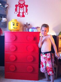 made this lego dresser for my 5 year old son evan...he loves it! Wooden plaques for handles were from michael's, and Lego name was made out of sculpey, which I baked in oven and then glued on plaque... Covered with clear coat finish...