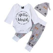 bae034671eeb 3pcs autumn Infant kids Baby Boy Romper long sleeve hello world letter Print  Tops Triangle Pants
