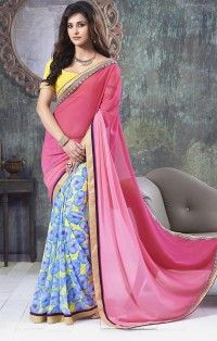 Classy Hot Pink Georgette Lace Work Saree