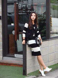 Slim fashion striped dress  #koreanfashion #redopin #crgang
