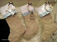 Love these burlap Christmas stockings with letters.