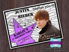 Justin Bieber Invitations  PRINTABLE by DesignableDreams on Etsy, $7.50
