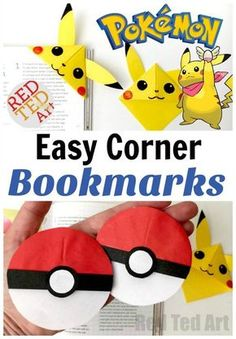 Take a break from playing Pokemon or Pokemon Go and make some of these fabulous Pokemon Boomark Corners. We love the Pikachu Bookmark corner. So sweet and fun!