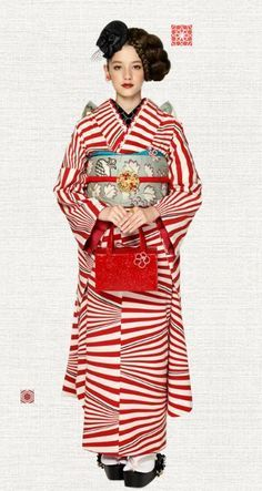 Hulisode: long sleeved formal kimono, single women only Traditioneller Kimono, Motif Kimono, Kimono Pattern, Kimono Fabric, Traditional Kimono, Traditional Dresses, Traditional Fashion, Style Du Japon, Modern Kimono