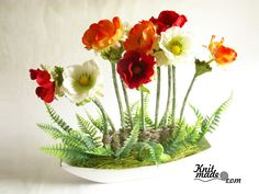 My florist work - Composition with anemones #knitmade #knitmadeflowers #knitmadenews #anemones