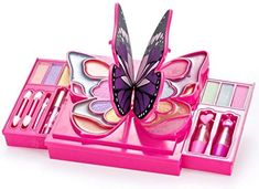 JaxoJoy Girly Girl Butterfly Makeup Kit - Girls Makeup Palette - 30 Piece Set * Learn more by visiting the image link. (This is an affiliate link) Little Girl Makeup Kit, Makeup Kit For Kids, Kids Makeup, Makeup Set, Toys For Girls, Kids Toys, Butterfly Makeup, Princess Toys, Different Shades Of Pink