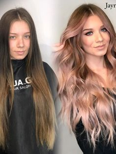 """Obsessed With the Autumnal """"Soft Rose Gold"""" Hair-Color Trend Soft Rose Gold Is the Perfect Fall Update to the Summer Hair Trend Gold Hair Colors, Ombre Hair Color, Cool Hair Color, Hair Colour, Blonde To Pink Ombre, Rose Gold Hair Brunette, Blonde Brunette, Summer Hairstyles, Cool Hairstyles"""