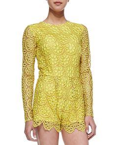 Alexis Izu Long-Sleeve Floral-Lace Short Jumpsuit