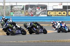 Josh Hayes, Josh Herrin and Martin Cardenas leading the National Guard SuperBike class