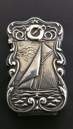 Antique Sterling Silver NAUTICAL SAILBOAT Match Safe Vesta Case Box Holder