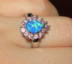 blue-fire-opal-Cz-ring-gemstone-silver-jewelry-Sz-8-elegant-modern-cocktail-H652