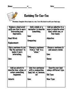 revising tic-tac-toe with Empowering Writers strategies