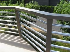 Custom pipe railing system - contemporary - outdoor products - seattle - by Mod Construction LLC Horizontal Deck Railing, Metal Deck Railing, Pipe Railing, Deck Railing Design, Deck Design, Loft Railing, Metal Handrails, Balcony Railing, Pergola Kits