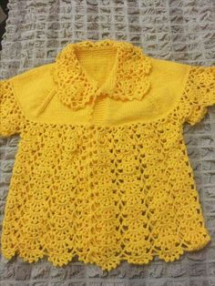Hand crochet/crocheted dress for your special little girl. This dress also has a pearl button closure on the neckline, and This Pin was discovered by Pet This Pin was discovered by HUZ Another of those simply beauti Crochet Girls, Crochet For Kids, Hand Crochet, Knitting For Kids, Baby Knitting Patterns, Crochet Blouse, Knit Dress, Summer Baby, Summer Vest