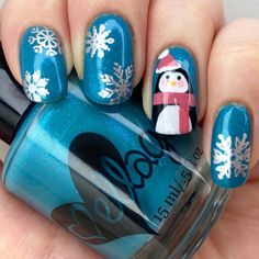 """Danni en Instagram: """"Penguin for today's Glam Nails Challenge theme and also Bird for today's Nail Art Promote theme 🐧. . @ellageepolish Lawn and…"""" Xmas Nails, Penguin, Lawn, Challenge, Nail Art, Bird, Beauty, Instagram, Christmas Manicure"""
