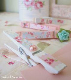 pretty clothespins...Great present for mom.. Make Valentine laundry more fun!