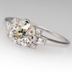 1930's light yellow Old Euro diamond engagement ring