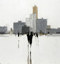 Geoffrey Johnson, City Study Gray 3, 2014, Oil on panel, 18 x 17 inches