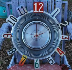 Cadillac Hubcap Clock License Plate Garage Clock Man by dables