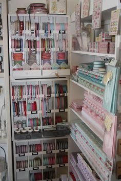 Beautiful ribbons and fabrics -wow, organization !!! Craft Room : )