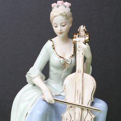 Lady With Cello Ceramic Statue, Art Figurine Female sculpture Home Decoration Cello, Your Favorite, Sculpture, Ceramics, Statue, Female, Decoration, Best Deals, Lady