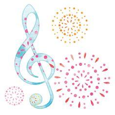 ト音記号と花火イラスト Music Notes, Bullet Journal, Symbols, Letters, Illustrations, Wallpapers, School, Illustration, Letter