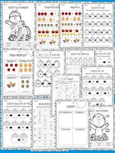 Students will love practicing math with these fun fall math worksheets! Perfect for Kindergarten!