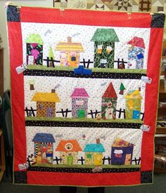 When Cathy M. told me that she had completed her Happy Shacks quilt, I asked her to bring it to the shop so I could take a picture. House Quilt Patterns, House Quilt Block, Quilt Blocks, Quilting Blogs, Quilting Projects, Sewing Projects, Attic Window Quilts, Scrappy Quilts, Patchwork Quilting