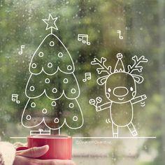 Merry christmas kerstboom raamtekening - New Sites Driving Home For Christmas, Christmas Time, Christmas Crafts, Merry Christmas, Christmas Decorations, Reindeer Craft, Christmas Stationery, Window Art, Chalkboard Art