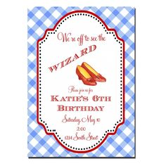 Wizard of Oz Birthday Party  Dorothy  Invitations  by peachymommy, $15.00