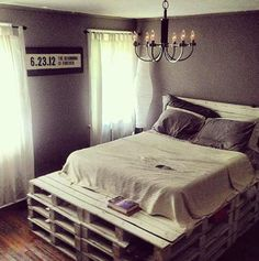 Queen Size Pallet Bed Frame with Headboard on Etsy, $500.00