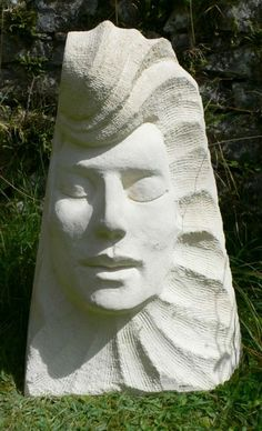 Stone Garden Or Yard / Outside and Outdoor sculpture by artist Ben Dearnley titled: 'Ra, the Sun God (Carved Contemporary Face garden/Yard statue/sculpture)'