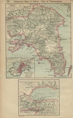 Ancient Maps - Reference Map of Attica + Plan of Thermopylae (480 B.C.)   1145223542