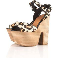 LASSIE Leopard Stacked Sandals ($110) via Polyvore