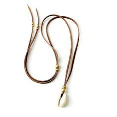 Cowrie Shell Necklace Suede Necklace W/ African Brass by xxxAZUxxx