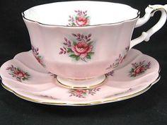 ROYAL ALBERT VANITY FAIR BRIDGET PINK ROSES TEA CUP AND SAUCER ~ on Ebay