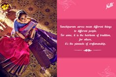 The Kanchipuram sarees are not made with just fabrics and dyes, they're woven with tradition and an unmatched craftsmanship.  #Nalli #sareesonline #onlineshopping #Kanchipuram #silk #sarees #online