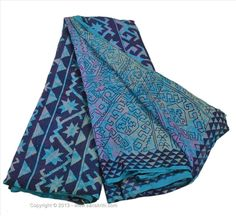 Offer of the day- available for US$ 0.01... Deal not to miss VINTAGE INDIAN SAREE PRINTED FABRIC PURE SILK SARI DECOR CRAFT 5 YARD DRESS BLUE