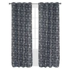 """Yorkshire Home Flocked Curtain Panel - 84"""" - Charcoal : Target"""