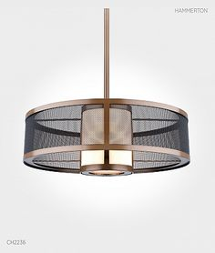 bronze & mesh contemporary pendant chandelier light