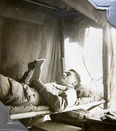 """World War Two, United States Army Air Force (U.S.A.A.F.), 5th Photo Reconnaissance Group, 4th Photo Squadron: """"Mail call."""" Handwritten on back: """"Must read a letter from  home!"""" Cpl. Donald Krasno (Photo Lab Tech), Italy, 1944 or 1945"""