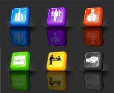 city job market internet royalty free vector icon set vector art illustration