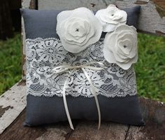 Vintage lace ring cushion. From Gems of the Soil on Etsy