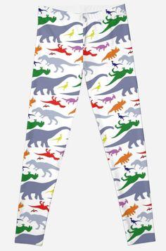 Colorful Dinosaurs Pattern (Light) Leggings #dinosaurs #jurassic #rex #raptor #apatosaurus